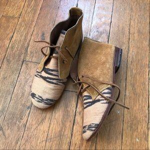 OSBORN Suede Burlap Bohemian Booties Shoes